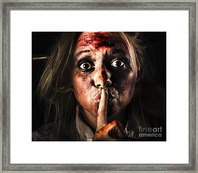 Scary Zombie Horror Face Gesturing Silence Framed Print by Jorgo Photography - Wall Art Gallery