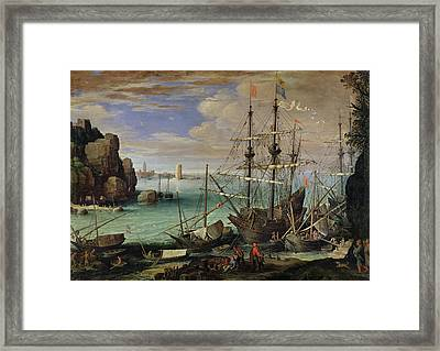 Scene Of A Sea Port Framed Print by Paul Bril