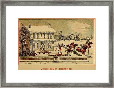 Scene Of Jesse James Shooting Six Men Framed Print by Everett