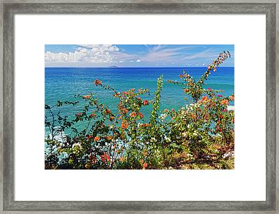 Scenic Coastal View With The Desecheo Island Framed Print by George Oze