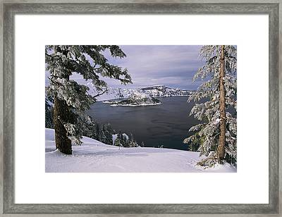 Scenic View At Crater Lake National Framed Print by Paul Nicklen