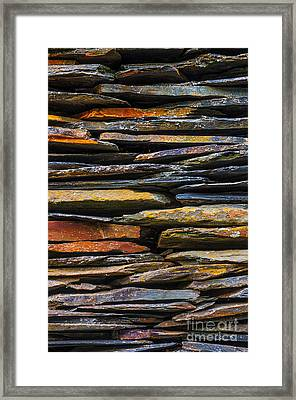 Schist House Detail Framed Print by Carlos Caetano