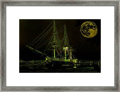 Schooner Friendship And The Super Moon Framed Print by William Jobes