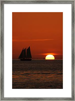 Schooner In Red Sunset Framed Print by Susanne Van Hulst
