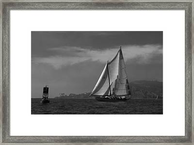 Schooner Off Point Loma Framed Print by David Shuler