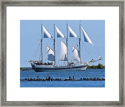 Schooner On Lake Michigan 1-2 Framed Print by Sandy Taylor
