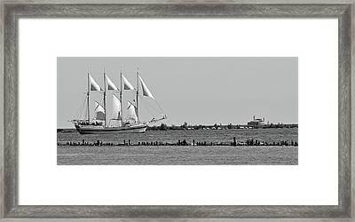 Schooner On Lake Michigan 1bw Framed Print by Sandy Taylor