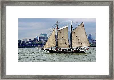 Schooner On New York Harbor 1 Framed Print by Sandy Taylor