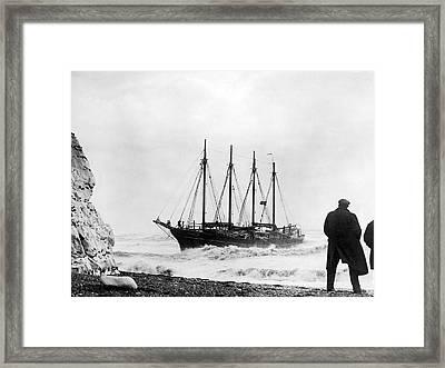 Schooner Shipwreck Framed Print by Underwood Archives