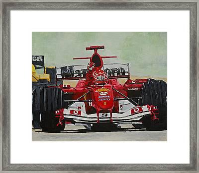 Schumacher Wins Framed Print by Terry Gill