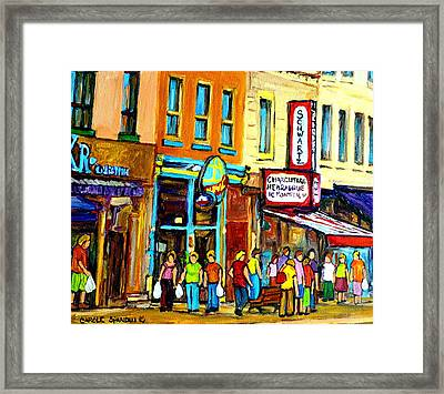 Schwartz's Hebrew Deli On St. Laurent In Montreal Framed Print by Carole Spandau