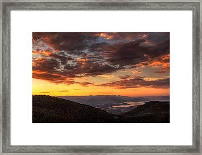 Schweitzer Mountain Sunrise Framed Print by Mark Kiver