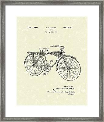 Schwinn Bicycle 1939 Patent Art Framed Print by Prior Art Design