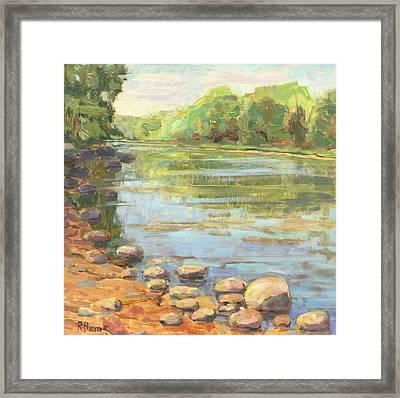 Scioto River Landscape Painting Framed Print by Robie Benve