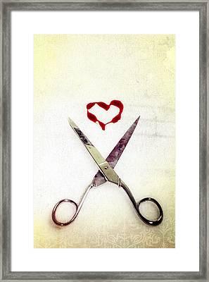 Scissors And Heart Framed Print by Joana Kruse