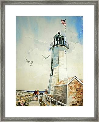 Scituate Light Framed Print by P Anthony Visco