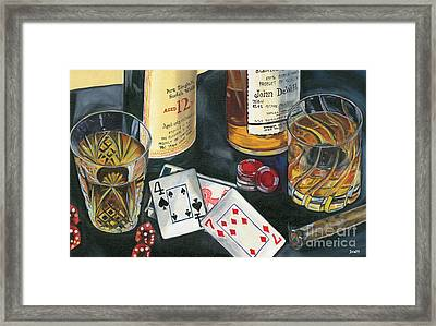 Scotch Cigars And Cards Framed Print by Debbie DeWitt