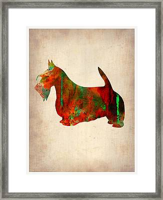 Scottish Terrier Watercolor 2 Framed Print by Naxart Studio