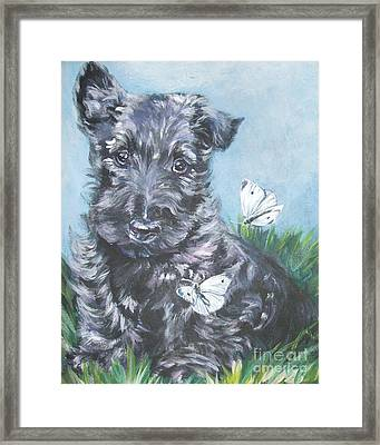Scottish Terrier With Butterflies Framed Print by Lee Ann Shepard