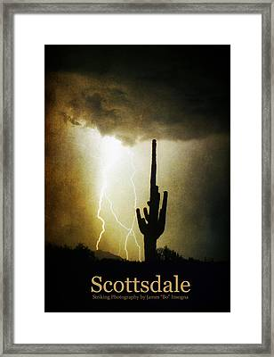 Scottsdale Arizona Fine Art Lightning Photography Poster Framed Print by James BO  Insogna