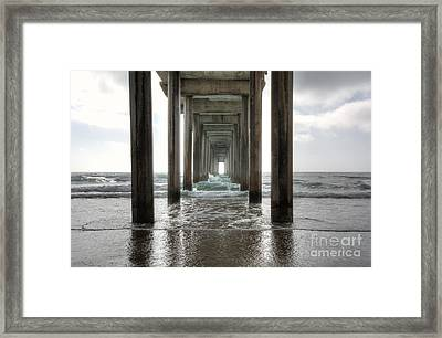 Scripps Pier Framed Print by Eddie Yerkish
