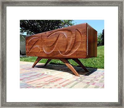 Sculpted Walnut Credenza Framed Print by Garry Zayon