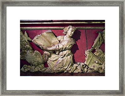 Sculpture On The Side Of An Antique Framed Print by Todd Gipstein