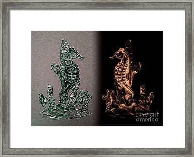 Sea Horses Symmetrical Art  Framed Print by Mario Perez