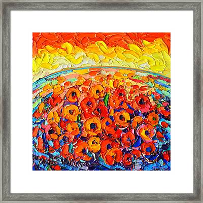 Sea Of Poppies At Sunset - Abstract Palette Knife Oil Painting By Ana Maria Edulescu Framed Print by Ana Maria Edulescu