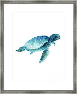 Sea Turtle Abstract Painting Framed Print by Joanna Szmerdt
