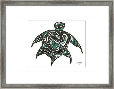 Sea Turtle Green Framed Print by Speakthunder Berry