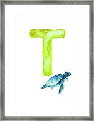Sea Turtle Watercolor Alphabet Poster Framed Print by Joanna Szmerdt
