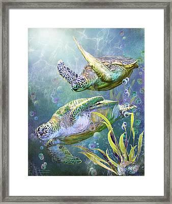Sea Turtles - Ancient Travelers Framed Print by Carol Cavalaris