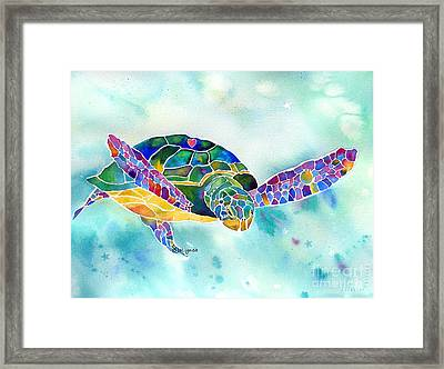 Sea Weed Sea Turtle  Framed Print by Jo Lynch