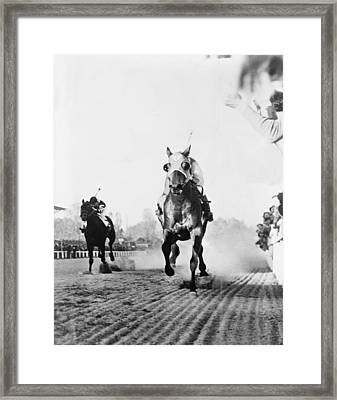 Seabiscuit Acrossing The Finish Line Framed Print by Everett