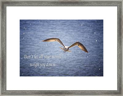 Seagull With Inspirational Words Framed Print by Daphne Sampson