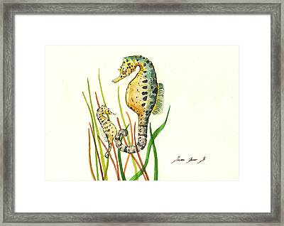 Seahorse Mom And Baby Framed Print by Juan Bosco