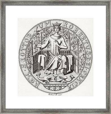 Seal Of Robert II, Aka The Steward, 1316 Framed Print by Vintage Design Pics