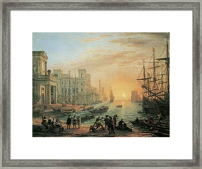 Seaport At Sunset Framed Print by Claude Lorrain