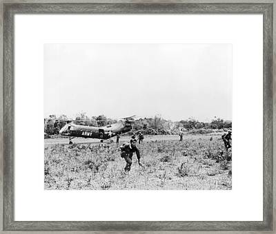 Searching For Viet Cong Framed Print by Underwood Archives