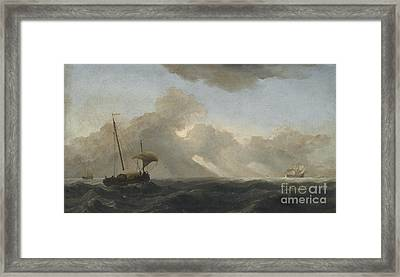 Seascape With Passing Storm Framed Print by Willem van de Velde