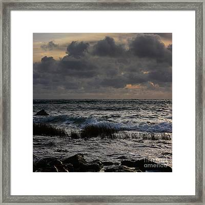 Seascape With Stormy Clouds Framed Print by Paul Davenport