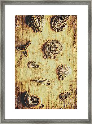 Seashell Shaped Pendants On Wooden Background Framed Print by Jorgo Photography - Wall Art Gallery