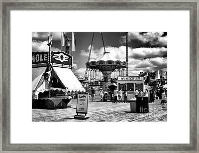 Seaside Heights Casino Pier Mono Framed Print by John Rizzuto