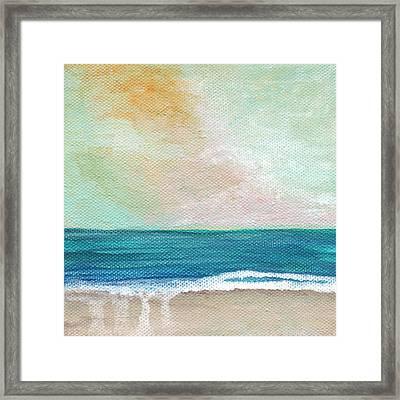 Seaside Sunset- Expressionist Landscape Framed Print by Linda Woods