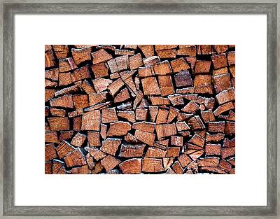 Seasoned Firewood Stacking Pattern Framed Print by Frank Tschakert