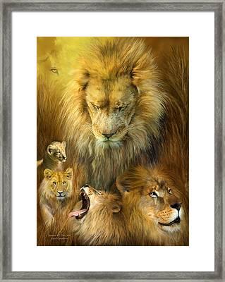 Seasons Of The Lion Framed Print by Carol Cavalaris