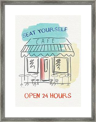 Seat Yourself Cafe- Art By Linda Woods Framed Print by Linda Woods