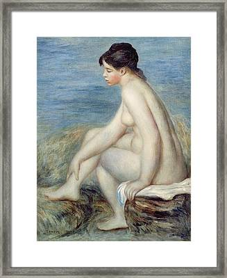 Seated Bather Framed Print by Renoir
