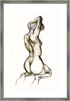 Seated Female Nude Framed Print by Roz McQuillan